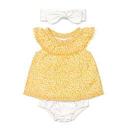 3-Piece Dress Set with Headband in Mustard