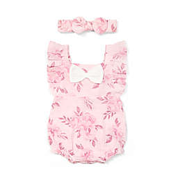 Emily and Oliver 2-Piece Floral Romper and Headband Set in Pink