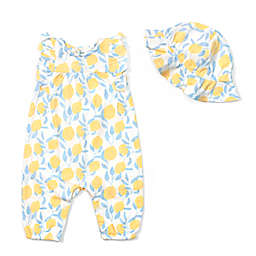 Emily and Oliver 2-Piece Jumpsuit and Hat Set in Lemon