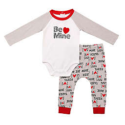 "Baby Starters® Newborn 2-Piece ""Be Mine"" Bodysuit and Pant Set in Heather Grey"