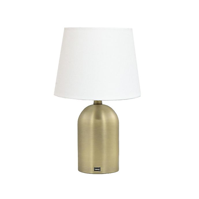 Alternate image 1 for Wild Sage™ Table Lamp in Gold with USB and Linen Drum Shade