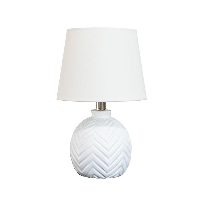 Alternate image 1 for Wild Sage™ Chevron Lamp in White with Linen Drum Shade