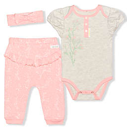 Tahari 3-Piece Bodysuit, Pant, and Headband Set in Oatmeal