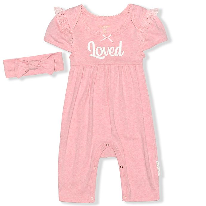 Alternate image 1 for Tahari Size 3-6M 2-Piece Loved Romper with Headband Set in Coral