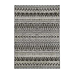 My Magic Carpet Tribal Aztec 5' x 7' Washable Area Rug in Black/Multicolor