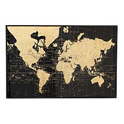 Ridge Road Décor Large, Black & Gold Vintage World Map Wall Decor