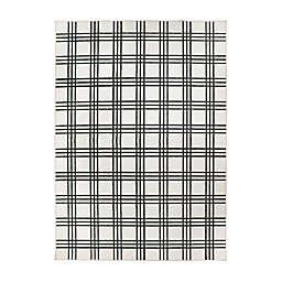 My Magic Carpet Plaid Rug in Black/Cream