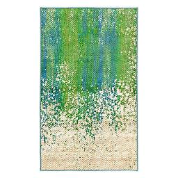 My Magic Carpet Hazel Chevron 3' x 5' Washable Area Rug in Teal