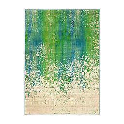 My Magic Carpet Hazel Chevron Washable Rug in Teal