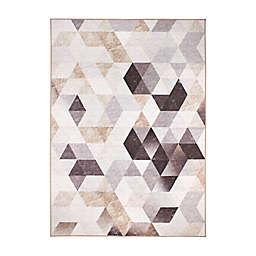 My Magic Carpet Lattice Geometric Rug in Dark Grey/Beige