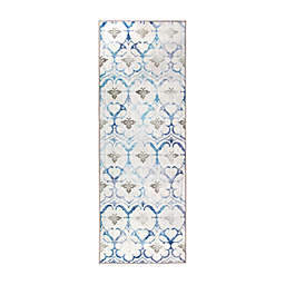 My Magic Carpet Leilani Damask Washable 7' Runner in Beige/Blue