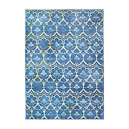 My Magic Carpet Leilani Damask 5' x 7' Washable Area Rug in Blue