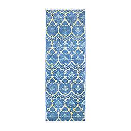 My Magic Carpet Leilani Damask 2'6 x 7' Washable Runner in Blue