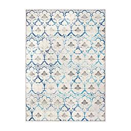 My Magic Carpet Leilani Damask Washable Rug in Beige/Blue