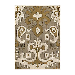 My Magic Carpet Ochre Ikat Washable Area Rug