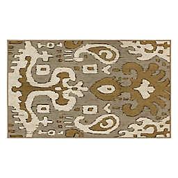 My Magic Carpet Ochre Ikat 3' x 5' Washable Area Rug in Grey/Gold