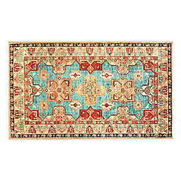 My Magic Carpet Ottoman 3' x 5' Washable Area Rug in Turquoise/Multicolor