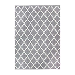 My Magic Carpet Moroccan Trellis 5' x 7' Washable Area Rug in Grey