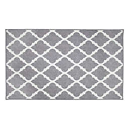 My Magic Carpet Moroccan Trellis Washable Rug in Grey