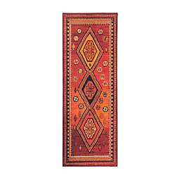 My Magic Carpet Phoenix Kilim Garnet 2'6 x 7' Runner in Red/Orange