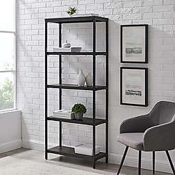 Simply Essential™ 5-Shelf Metal Bookcase in Black