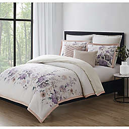 Charisma® Ellis 3-Piece Reversible Duvet Cover Set in White/Purple