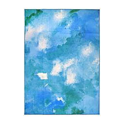 My Magic Carpet Watercolor Washable Area Rug in Aqua Blue