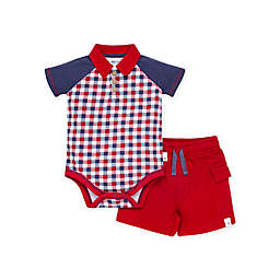 Burt's Bees Baby® 2-Piece Picnic Plaid Polo Bodysuit & Terry Cargo Short Set