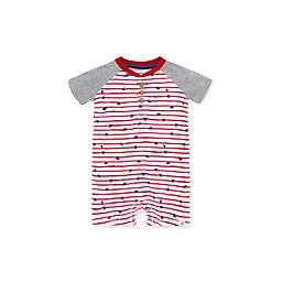 Burt's Bees Baby® Stars N Stripes Short Sleeve Henley Romper in Cherry