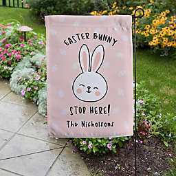 """17.25-Inch """"Easter Bunny Stop Here"""" Double-Sided Garden Flag"""