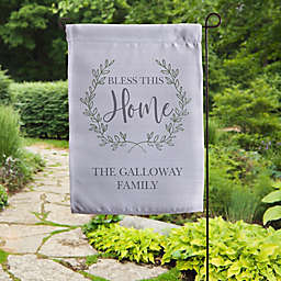 """""""Bless This Home"""" 17.25-Inch Outdoor Easter Garden Flag in Grey"""