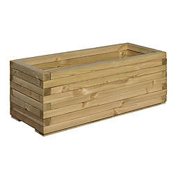 Bosmere Timber Outdoor Rectangular Planter Box in Brown