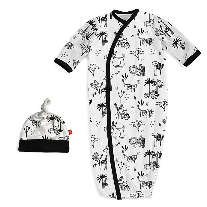 Alternate image 1 for Magnetic Me® by Magnificient Baby Size 0-3M Safari Magnetic Gown and Hat Set in Black/White