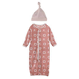 KicKee Pants® Preemie 2-Piece Lifeguard Ruffle Layette Gown Converter and Hat Set in Pink