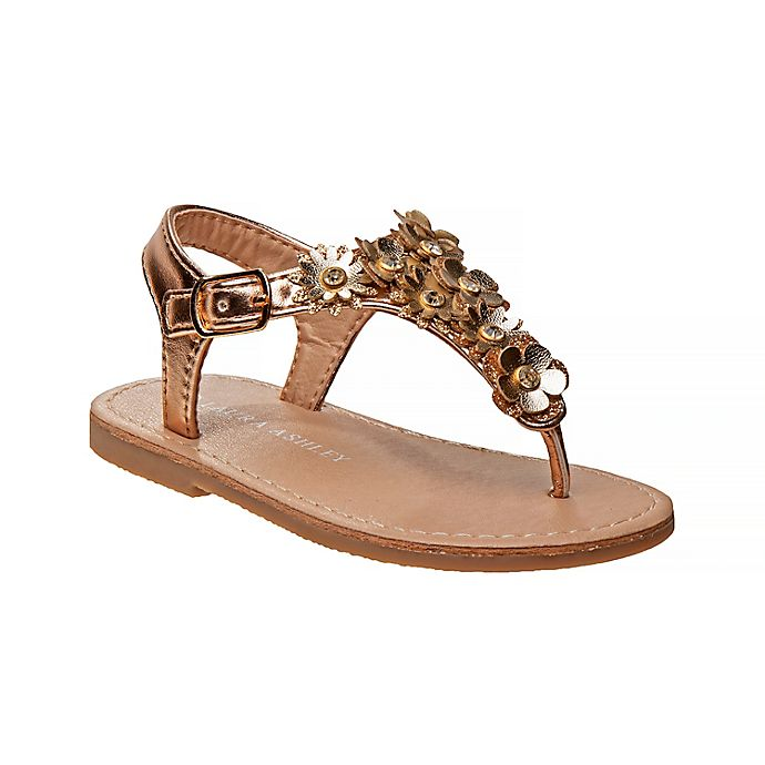Alternate image 1 for Laura Ashley®  Sandal with Flowers in Gold