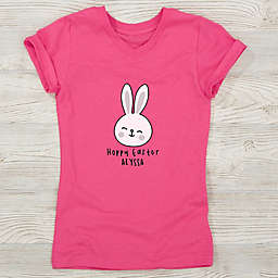 Easter Bunny Icon Personalized Girls Fitted T-Shirt