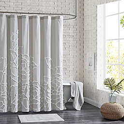 Peri Home 72-Inch x 72-Inch Chenille Rose Shower Curtain in Grey