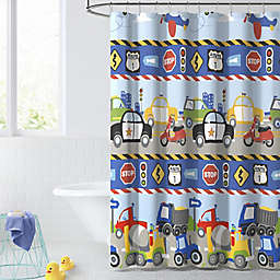 Dream Factory 72-Inch x 72-Inch Trains and Trucks Shower Curtain