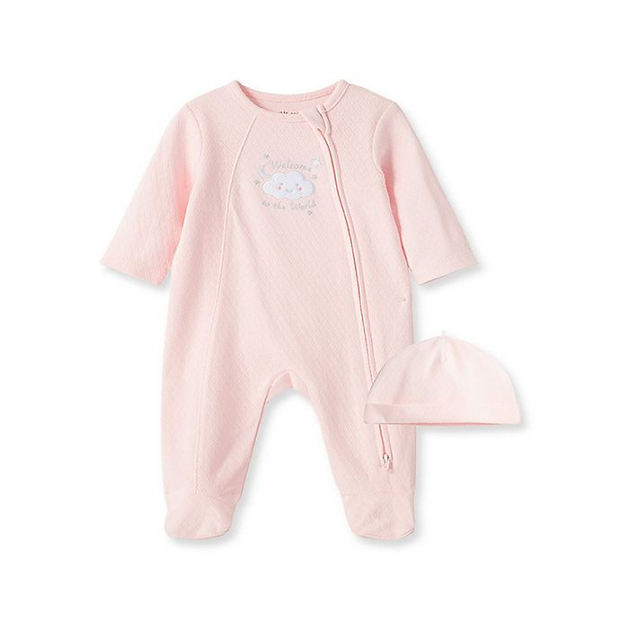 Alternate image 1 for Little Me® 2-Piece New World Girl Footie and Hat Set in Pink