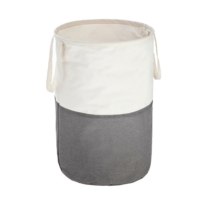 Alternate image 1 for Squared Away Soft Sided Collapsible Laundry Hamper in White/Grey