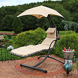 Sunnydaze Outdoor Floating Chaise Lounge with Canopy in Beige
