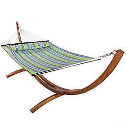 Sunnydaze Quilted Fabric Hammock with Pillow and Stand