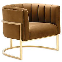 TOV Furniture Magnolia Cognac Velvet Chair in Cognac