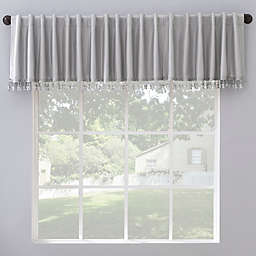 Sun Zero Evelina Faux Silk Tassels Blackout Back Tab Window Curtain Valance