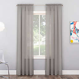 No. 918 Calypso Sheer Voile 84-Inch Rod Pocket Window Curtain Panel in Silver Gray