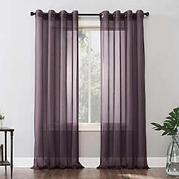 No. 918 Emily Sheer Voile 95-Inch Grommet Window Curtain Panel in Fig Purple