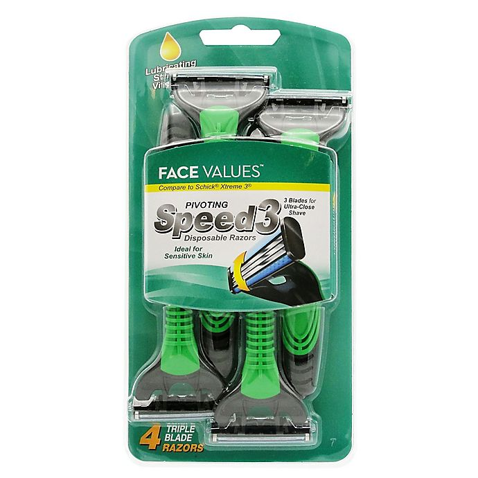 Alternate image 1 for Harmon® Face Values™ 4-Pack Men's 3 Blade Disposable Razors