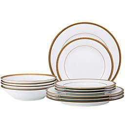 Noritake® Charlotta 12-Piece Dinnerware Set in White/Gold