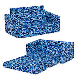 Delta Children Cozee Flip-Out Convertible Sofa to Lounger in Blue Camo