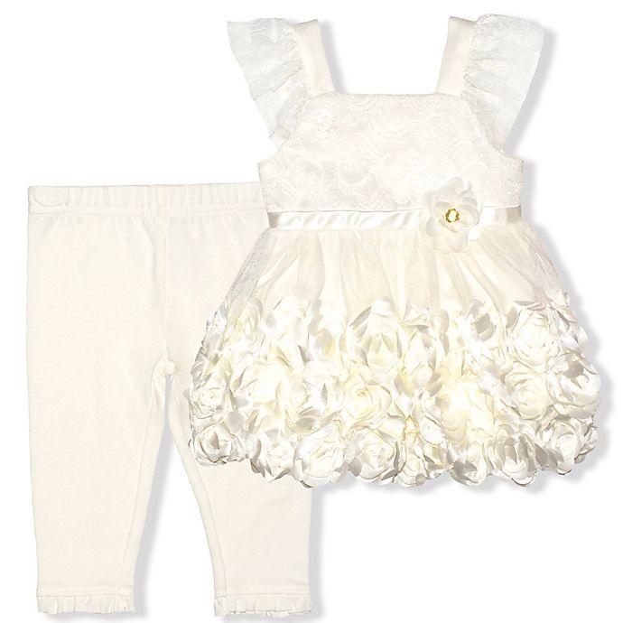 Alternate image 1 for Nanette Baby® Rosette Dress and Legging Set in Cream